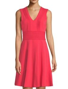 Eliza J Pintucked V-neck Fit and Flare Dress